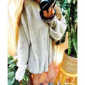 Vintage cozy oatmeal plush oversized sweater 🌜